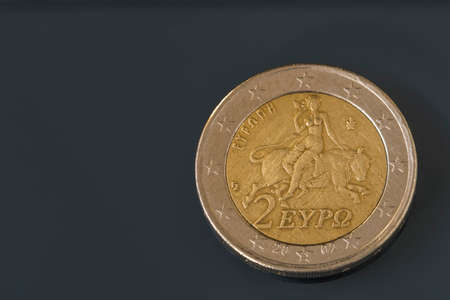Two, 2 Euro coin from Greece, regular mint, Europa riding the bull