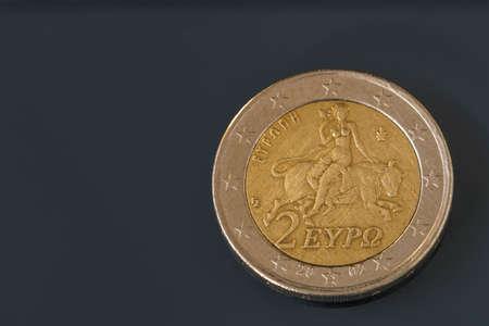 Zwei 2 Euro Münze Aus Griechenland Normale Minze Europa Auf Dem