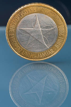 Rare limited edition three 3 Euro coin issued by Slovenia celebrating its first presidency of European union from January to June 2008 Stock Photo