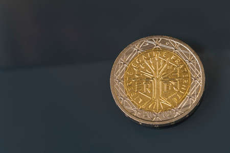 fraternidad: National side of two euro coin issued by France and depicts a tree symbolizing life, continuity and growth with inscription liberty, equality, fraternity
