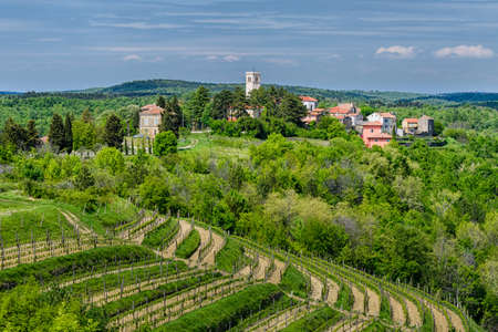Oprtalj - idyllic small town on a hill in central Istria Stok Fotoğraf