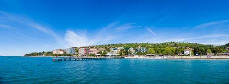 Large panorama of Portoroz beach and holiday resort, Slovenia