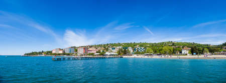 Large panorama of Portoroz beach and holiday resort, Slovenia