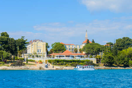 Katarina Island near Rovinj, Croatia with seaside holiday resort