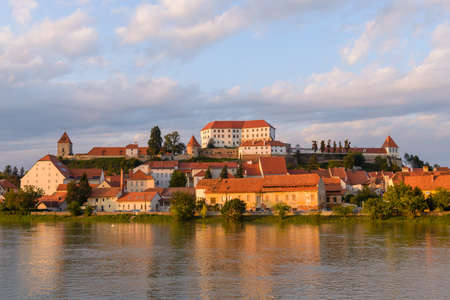 Ptuj, Slovenia, panoramic shot of oldest city in Slovenia with a castle overlooking the old town Stock Photo