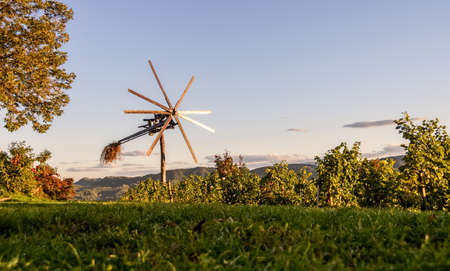 Klopotec, authentic traditional windmill slovenian wine road and local attraction unique to Slovenia Stock Photo