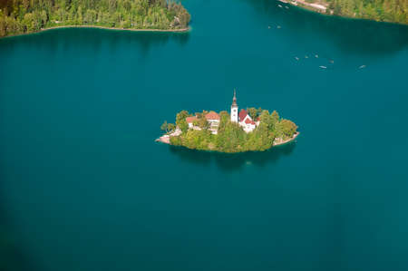 Aerial Panoramic view of Bled Lake with church on island, Slovenia, Europe