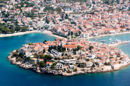 Aerial view of Primosten, popular Croatian summer destination. Stock Photo