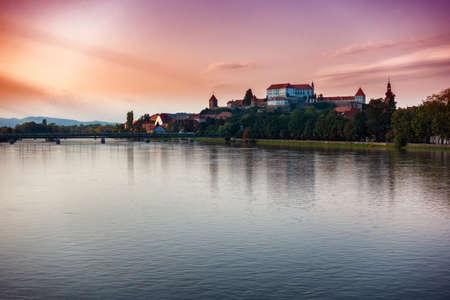 Ptuj, Slovenia, panoramic shot of oldest city in Slovenia
