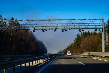 Electronic toll system on highway in Slovenia om the A1 highway was recently introduced for freight traffic 免版税图像