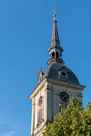 Church tower with clock, St. Bartholomews church in Slovenska Bistrica, Slovenia