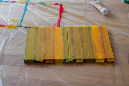 Tape masking home art with acrylic colors and golden guild, DIY concept