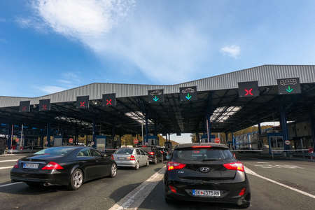 Lipovac, Batrovci on Croatia Serbia border, October 14 2018: Batrovci Lipovac is the most congested border crossing on the Balkan highway and main route to western Balkan peninsula and the Middle East