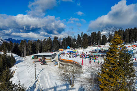Krvavec, Slovenia - 8 January 2012: Krvavec Alpine Mountain Ski Resort in Slovenia is only 30 minutes away from Slovene capital Ljubljana and a popular destination for wintersports in Slovenia Redactioneel
