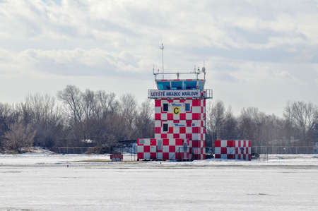 Hradec Kralove, Czech - February 27 2010: Former military airbase of the Warsaw pact transformed to a civilian airport in Hradec Kralove allowed development of aircraft industry in Czech republic