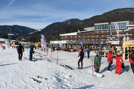 Kranjska gora, Slovenia - 25 January 2018: The slopes of Kranjska gora ski resort are popular with tourists in winter. Kranjska gora is host to FIS mens world cup slalom and giant slalom competition