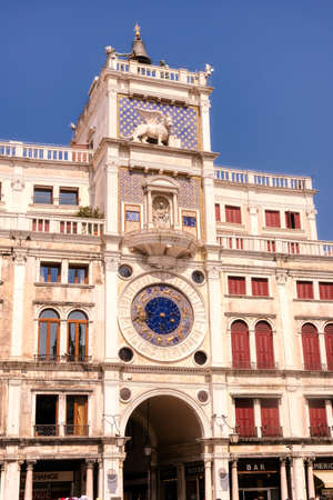St Mark's Clocktower, also Torre dell'Orologio in Venice, Italy, famous landmark on Piazza San Marco Banque d'images - 124692413