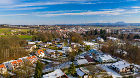 Early spring over small European town, aerial view, Slovenska Bistrica, Slovenia