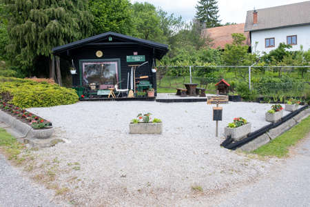Kocno, Slovenia - May 25, 2019: Open air museum in Kocno Slovenia, showcases domestic crafts and arts in use during past centuries