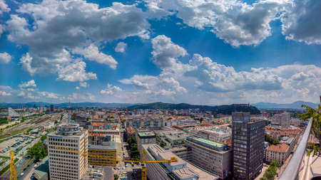 Ljubljana, Slovenia - June 20 2019: Panoramic view of Slovenia capital from the terrace of the Intercontinental hotel