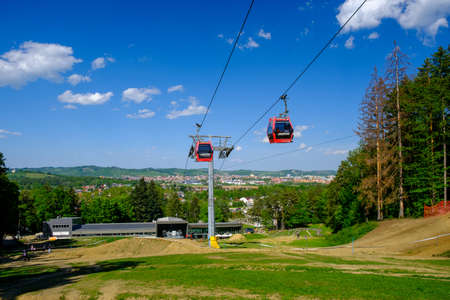 Maribor, Slovenia - May 2, 2019: Pohorska vzpenjaca cable car at lower station in Maribor, Slovenia, a popular destination for hiking and downhill mountain biking