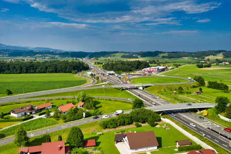 Slovenske Konjice, Slovenia - June 16 2019: Aerial view of construction works on Tepanje toll station on A1 highway in Slovenia. Toll stations are removed due introduction of electronic toll payment