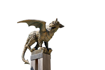 Solcava, August 17 2019: Bronze statue of the Lintver dragon, a signpost on the Solcava Panoramic road above Logar valley in Slovenia Sajtókép