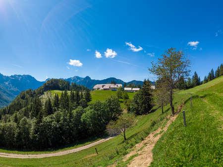 Mountain landscape, Alps in Slovenia with farm and blooming meadows, Solcava panoramic road