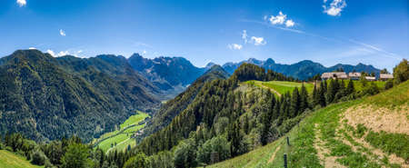 Sunny summer landscape with Solcava panoramic road, Logarska Dolina,Slovenia.A popular tourist and travel destination Zdjęcie Seryjne