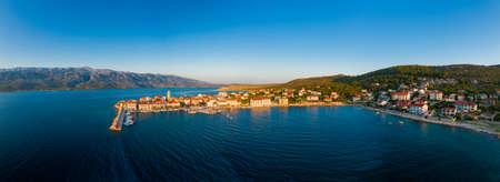 Old coastal town in Croatia, aerial view of Vinjerac near Zadar and Paklenica National park in the Velebit mountains