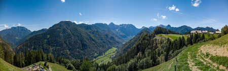 Sunny summer landscape with Solcava panoramic road, Logarska Dolina,Slovenia.A popular tourist and travel destination in Europe Zdjęcie Seryjne