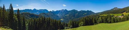 Sunny summer landscape with Solcava panoramic road, Logarska Dolina, Logar valley in Slovenia, a popular tourist and travel destination Stockfoto