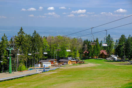 Maribor, Slovenia - May 2 2019: Ski slopes of Pohorje, near Maribor are a popular hiking destination in summer