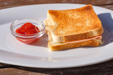 Toast sandwich with ham and molten cheese