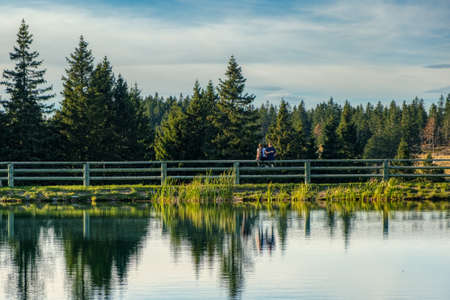 Young couple in love, unrecognizable, sitting on fence at lake, trees reflect in water, love, dating, tranquility and intimacy concept Stockfoto