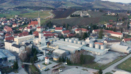 Slovenska Bistrica, Slovenia - Dec 25 2019: Aerial view of Gea Oil Mill in Slovenska Bistrica, Slovenia Editöryel