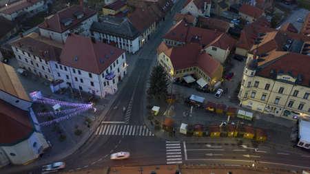 Slovenska Bistrica, Slovenia - Dec 25 2019: Christmas decoration time-lapse on main square in Slovenska Bistrica, Slovenia