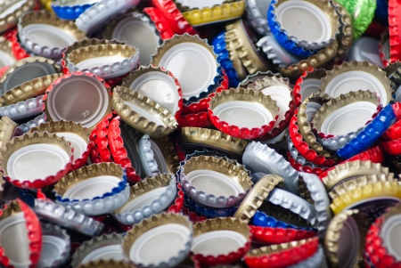 Bottle caps background Stock Photo