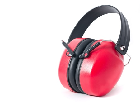 noise pollution: red earmuffs isolated on white background