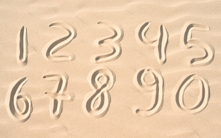 numbers on sand  Stock Photo