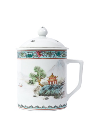 Decorative ceramic tea mug with paintings photo