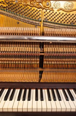 teclado de piano: Mec�nica de Piano Foto de archivo