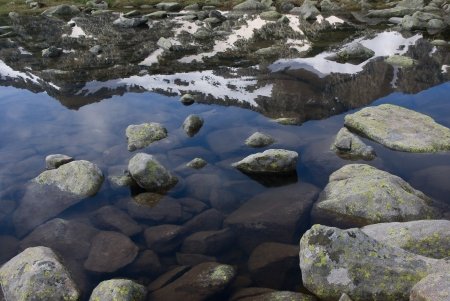 Mountain reflecting in pond in the Pirin range - Bulgarian balkans photo