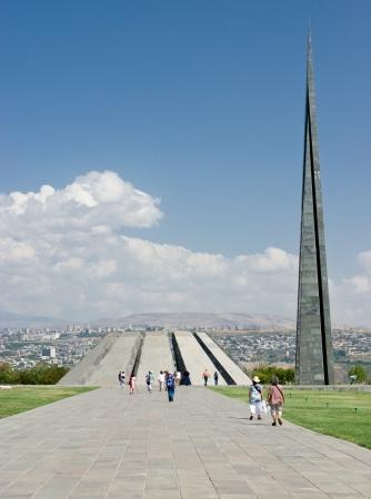 disputed: YEREVAN, ARMENIA - SEPTEMBER 5  The Armenia Genocide Memorial On September 5, 2011 in Yerevan, Armenia  The largely disputed Armenian genocide took place in 1915 by the Turks killing an estimated million and a half Armenians
