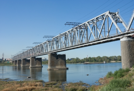 the Trans Siberian railway bridge over the Ob river at Novosibirsk, Siberia, Russia photo