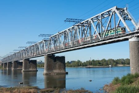novosibirsk: the Trans Siberian railway bridge over the Ob river at Novosibirsk, Siberia, Russia