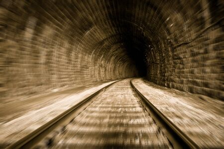 train tunnel with motion blur effect photo