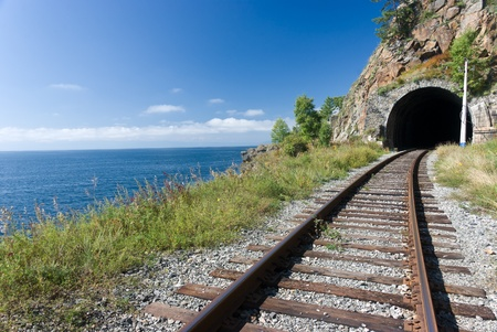shores: the old Trans Siberian railway on the shores of lake Baikal - Russia