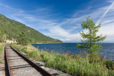 the old Trans Siberian railway on the shores of lake Baikal - Russia photo