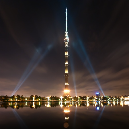 MOSCOW - SEPTEMBER 21  Ostankino Communication Tower on September 22, 2012 in Moscow  Standing 540 1 meters tall, Ostankino tower was the first free-standing structure in the world to exceed 500 meters in height  Stock Photo - 18170661